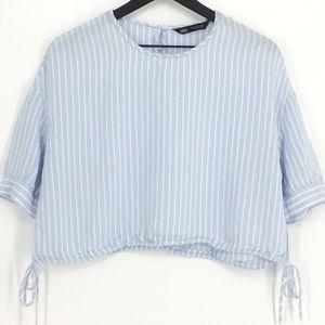 ZARA Light Blue & White Striped Crop Shirt
